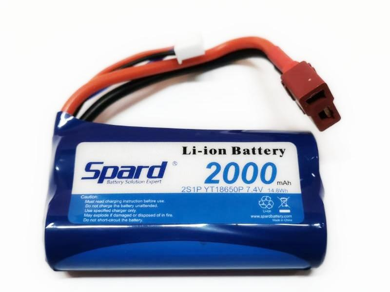 Аккумулятор Li-Ion Spard 2000mAh, 7,4V, 15C, T-plug для Remo Hobby 1 16 - YT18650P