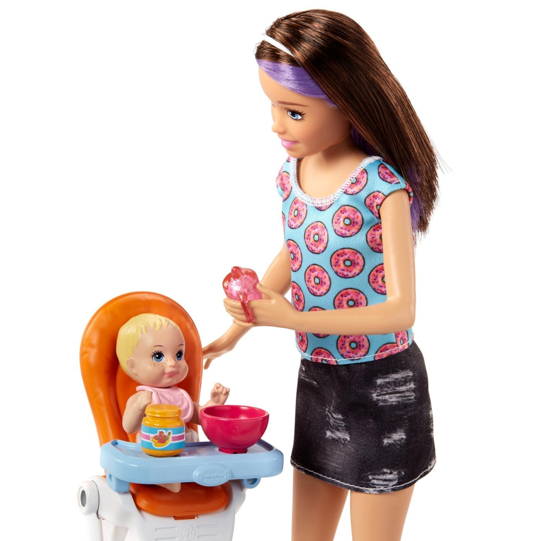 Кукла барби скиппер няня с коляской и младенцем
